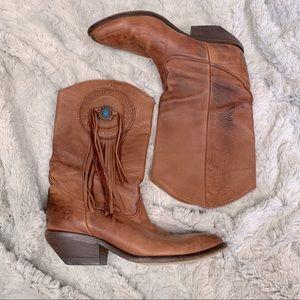 Zodiac Cowboy boots leather turquoise stone fringe